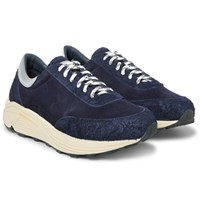 Our Legacy Mono Runner Panelled Suede Sneakers Navy