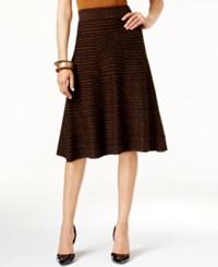 Alfani Knit Pattern Fit And Flare Sweater Skirt Only At Macy's Sienna Black