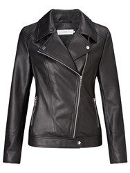 John Lewis Betsy Leather Biker Jacket Black