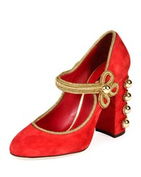 Dolce And Gabbana Embellished Suede Mary Jane Pump Red Gold