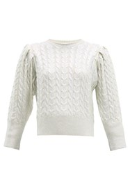 Msgm Metallic Wool Blend Cable Knit Sweater Silver