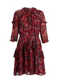 Saloni Tilly Ruffle Trimmed Silk Georgette Dress Red Print