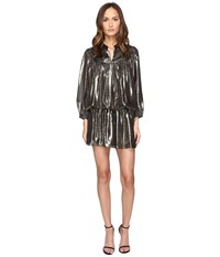 Just Cavalli Long Sleeve Metallic Cinched Drop Waist Dress Black