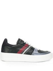 Z Zegna Striped Low Top Sneakers Blue