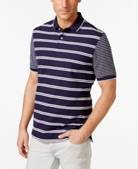 Club Room Short Sleeve Stripe Polo Only At Macy's Navy Blue