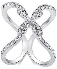 Guess Silver Tone Pave X Ring
