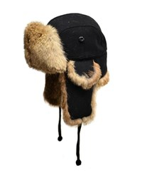 Crown Cap Wool Aviator Hat With Rabbit Fur Black