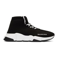 Balenciaga Black Lace Up Speed Sneakers