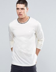 Pretty Green Long Sleeve Top With Paisley Trim In Slim Fit White White