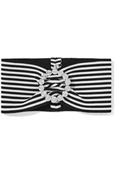 Alessandra Rich Crystal Embellished Striped Stretch Cotton Headband Black