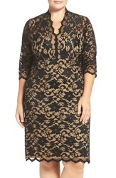 Karen Kane Plus Size Women's Scalloped V Neck Stretch Lace Dress