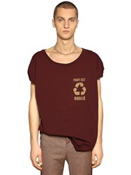 Faith Connexion Recycle Printed Cotton Jersey T Shirt Bordeaux