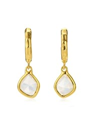 Monica Vinader Gp Siren Mini Nugget Hoop Moonstone Earrings Gold