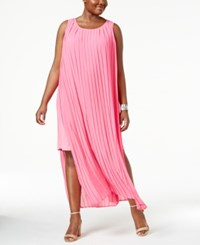 Ny Collection Plus Size Pleated Layered Maxi Dress Pink Neoncombo