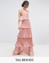 True Decadence Tall Cami Strap Maxi Dress With Ruffle Layered Pleated Skirt Pink