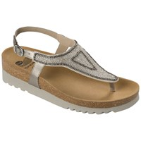 Scholl Aida Beaded Toe Post Sandals Metallic