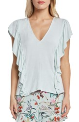 Willow And Clay Ruffle V Neck Knit Top Mint