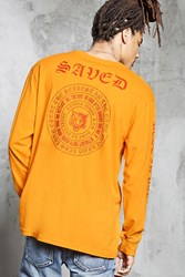Forever 21 Saved Graphic Long Sleeve Tee Gold Red