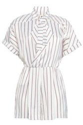 Maje Woman Bow Detailed Striped Crepe Playsuit White