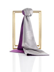 Shanghai Tang Double Happiness Silk And Pashmina Scarf Silver Grey