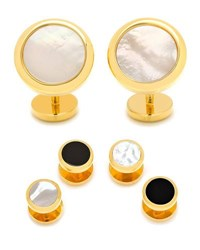 Cufflinks Inc. Double Sided Mother Of Pearl And Onyx Cuff Links And Stud Set