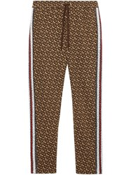Burberry Monogram Stripe Print Cotton Trackpants Brown