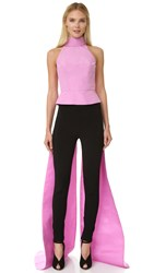 Monique Lhuillier Sleeveless Top With Train Rose