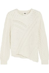 Maison Martin Margiela Mm6 Asymmetric Cable Knit Cotton Sweater Cream