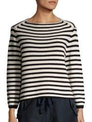 Vince Striped Knit Pullover White Black