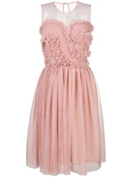 P.A.R.O.S.H. Frill Tulle Midi Dress Nude And Neutrals