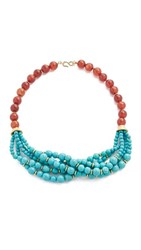 Kenneth Jay Lane Bead Chain Necklace Carnelian Turquoise