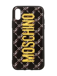 Moschino Logo Print Quilted Iphone Xs Cover Dark Grey