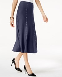 Ny Collection Studded Midi Sweater Skirt Evening Blue