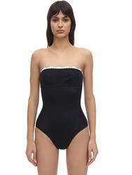 Stella Mccartney One Piece Swimsuit W Scalloped Edge Navy