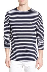 Men's Lacoste Stripe Jersey Long Sleeve Crewneck T Shirt Navy Blue White