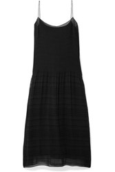 The Row Tanya Pleated Crepe De Chine Midi Dress Black