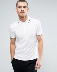 Hugo By Boss Polo Tipped Stretch Slim Fit In White White