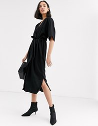 Native Youth Relaxed Dress With Tie Waist Black