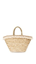 Hat Attack Seagrass Tote With Tassels Natural Ivory