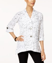 Jm Collection Printed Roll Tab Shirt Only At Macy's Crinkle Zebra