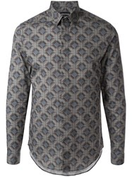 Emporio Armani Printed Formal Shirt Grey