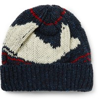 Thom Browne Intarsia Knit Wool And Mohair Blend Beanie Blue