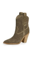 Sigerson Morrison Suede Karka Perforated Booties Taupe