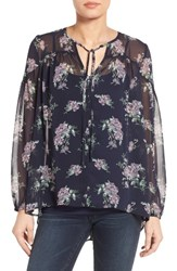 Gibson Women's Sheer Peasant Blouse Navy Floral