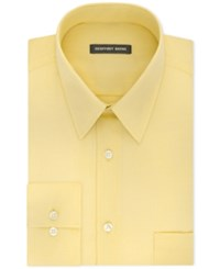 Geoffrey Beene Men's Classic Fit Wrinkle Free Bedford Cord Dress Shirt Dark Yellow
