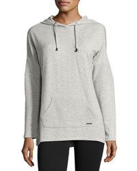 Marc New York Fleece Drawstring Hooded Tunic Light Gray