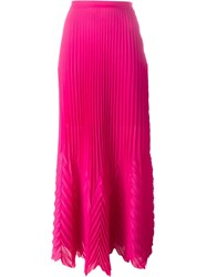 Msgm Pleated Long Skirt Pink And Purple