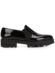 Pollini Pointed Toe Loafers With Elasticated Side Details Black