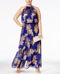 Msk Plus Size Metallic Print Pleated Blouson Halter Gown Royal Gold