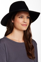 Phenix Wide Brim Wool And Leather Fedora Black